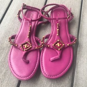 Cole Haan Pink Beaded Leather Sandals